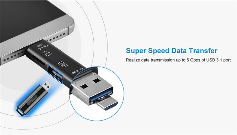Cwxuan Type-C / Micro USB to OTG Hub Adapter TF Card Reader
