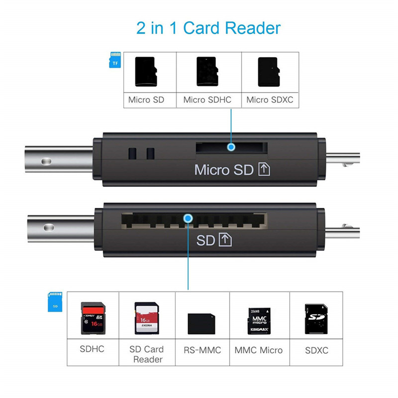 Micro USB Card Reader 2 in 1 USB 2.0 Connectors SD TF