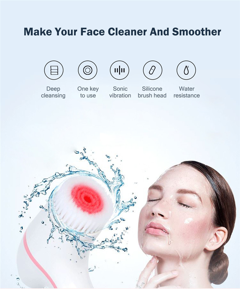 Sonic Facial Cleansing Brush Electric Silicone Face Deep Cleaner