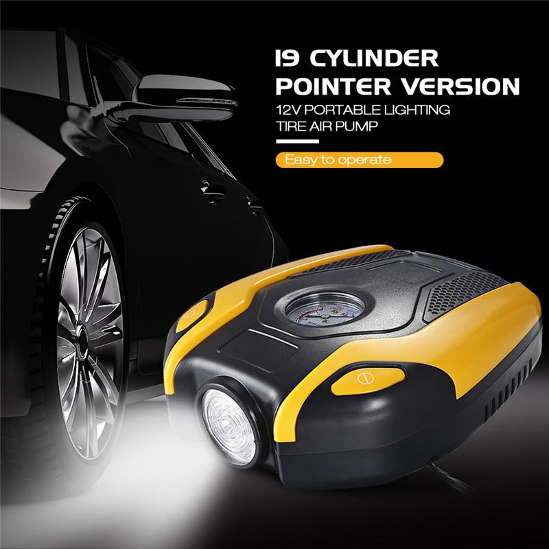 19 Cylinder Pointer Version 12V Portable Lighting Tire Air Pump