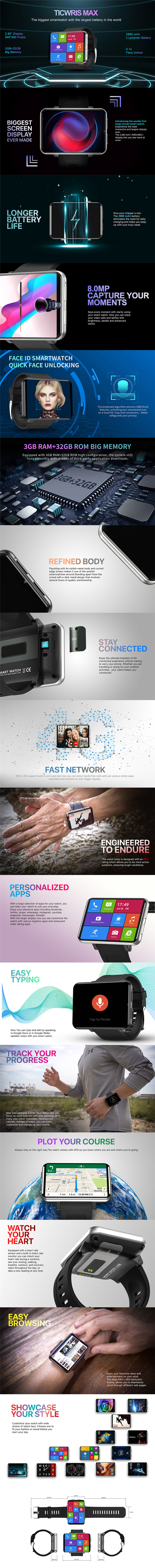 Ticwris max 4G smart watch phone