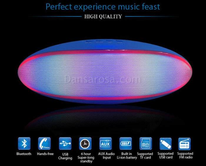 Rugby LED Light Portable Bluetooth Speaker S80