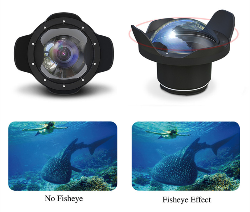 Canon T6s 760D waterproof case wide angle dry lens dome