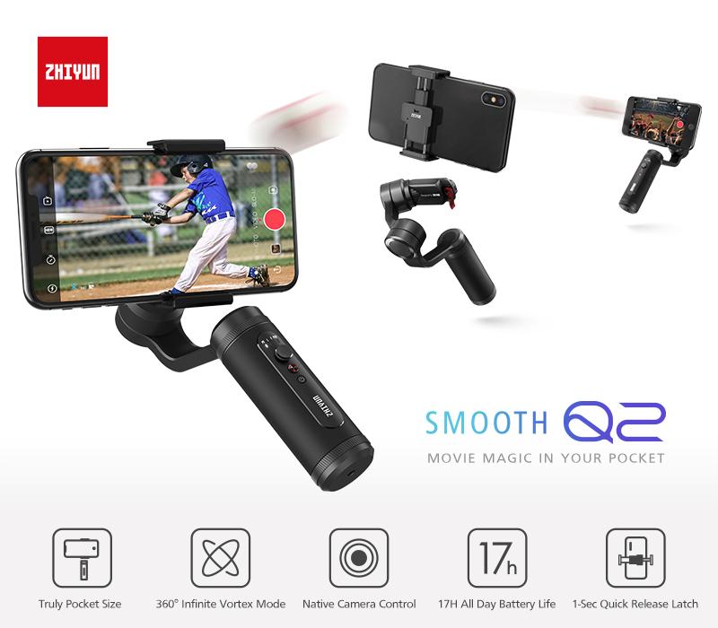 Zhiyun smooth-Q2 3-axis cellphone gimbal stabilizer iPhone Samsung