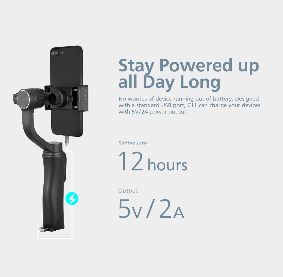 Zhiyun CINEPEER C11 mobile gimbal 3-Axis handheld stabilizer for iPhone/Samsung