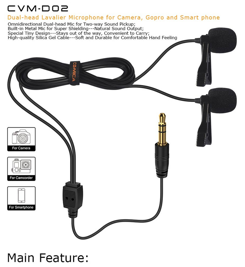 Comica CVM-D02 dual-head lavalier microphone