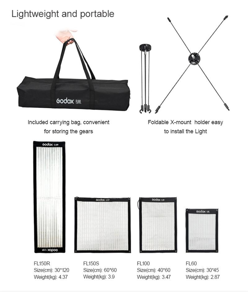 Godox flexible LED video light APP remote control photo foldable lighting