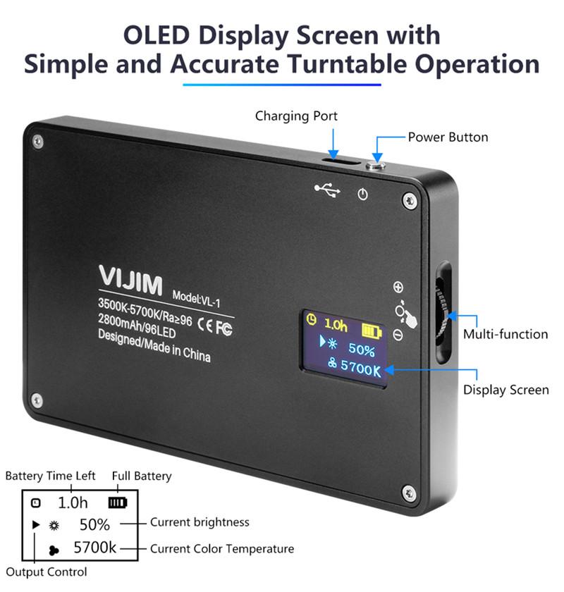 VIJIM DSLR LED video light on camera magnetic dimmable bi-color studio light