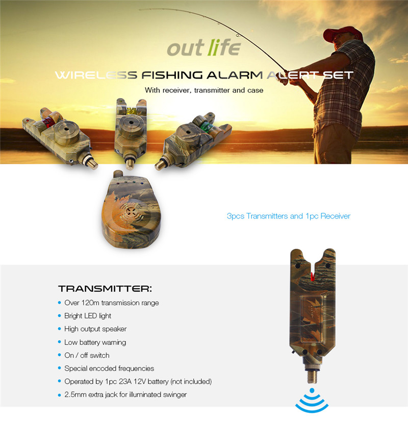 Outlife JY - 35 - 3 wireless camouflage fishing bite alarm set with carry case