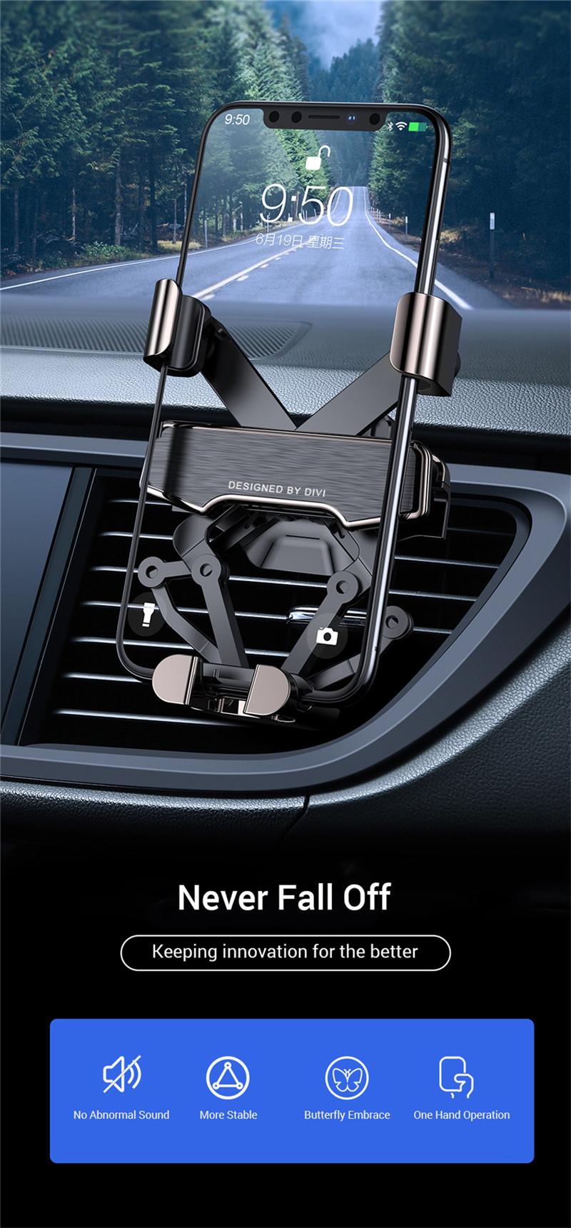 Gravity air vent car phone holder