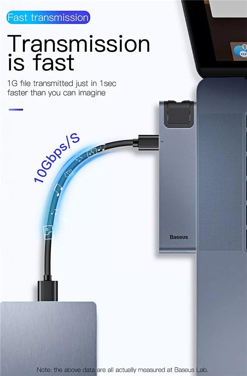 Baseus 7 in 1 Dual Type-C USB C Hub Adapter