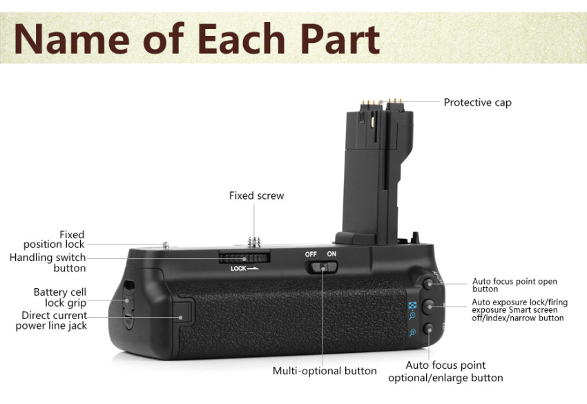 Pixel Vertical E7 Battery Grip Holder Pack For Canon EOS 7D