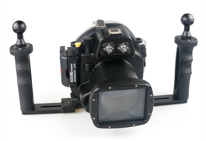 Canon EOS M2 waterproof case aluminum tray set double handles