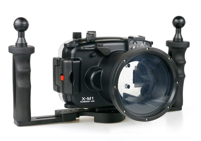 Fujifilm X-M1 waterproof case aluminum tray set double handles