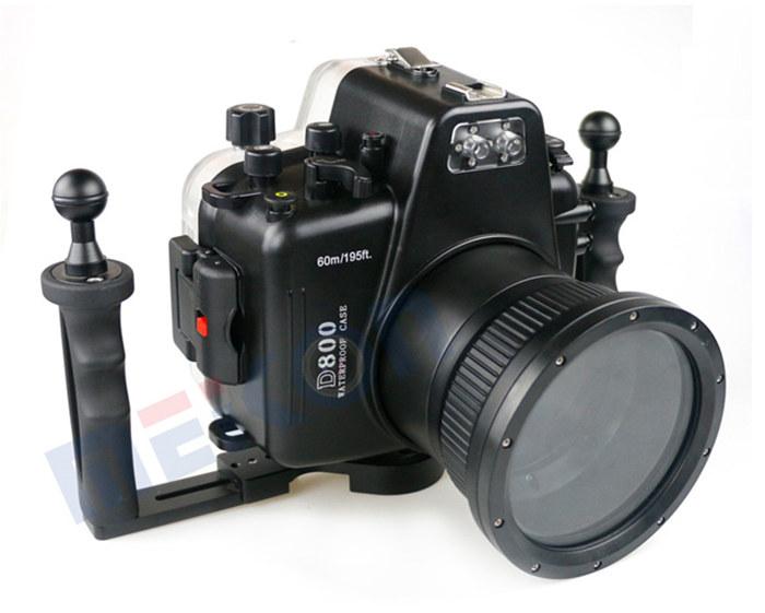 D800 waterproof case with double handles
