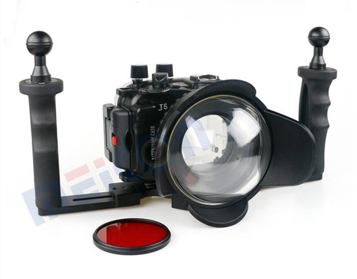 Nikon 1 J5 waterproof case aluminum tray set double handles