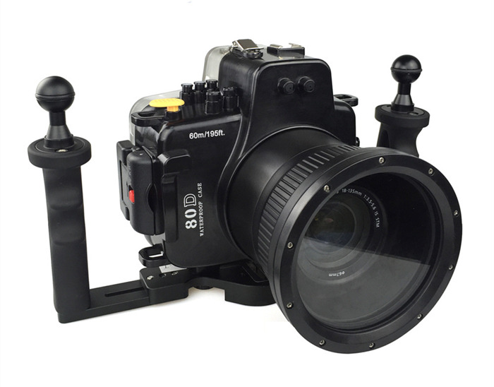 Canon 80D waterproof case with double handles aluminum tray