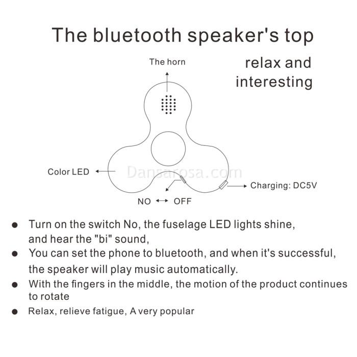 LED Bluetooth Speaker Fidget Spinner Finger Spiner E104