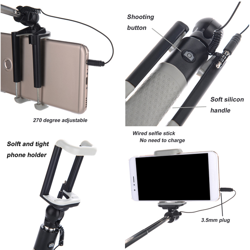 D12S Portable Selfie Stick Handheld Monopod For Iphone & Android Cellphone