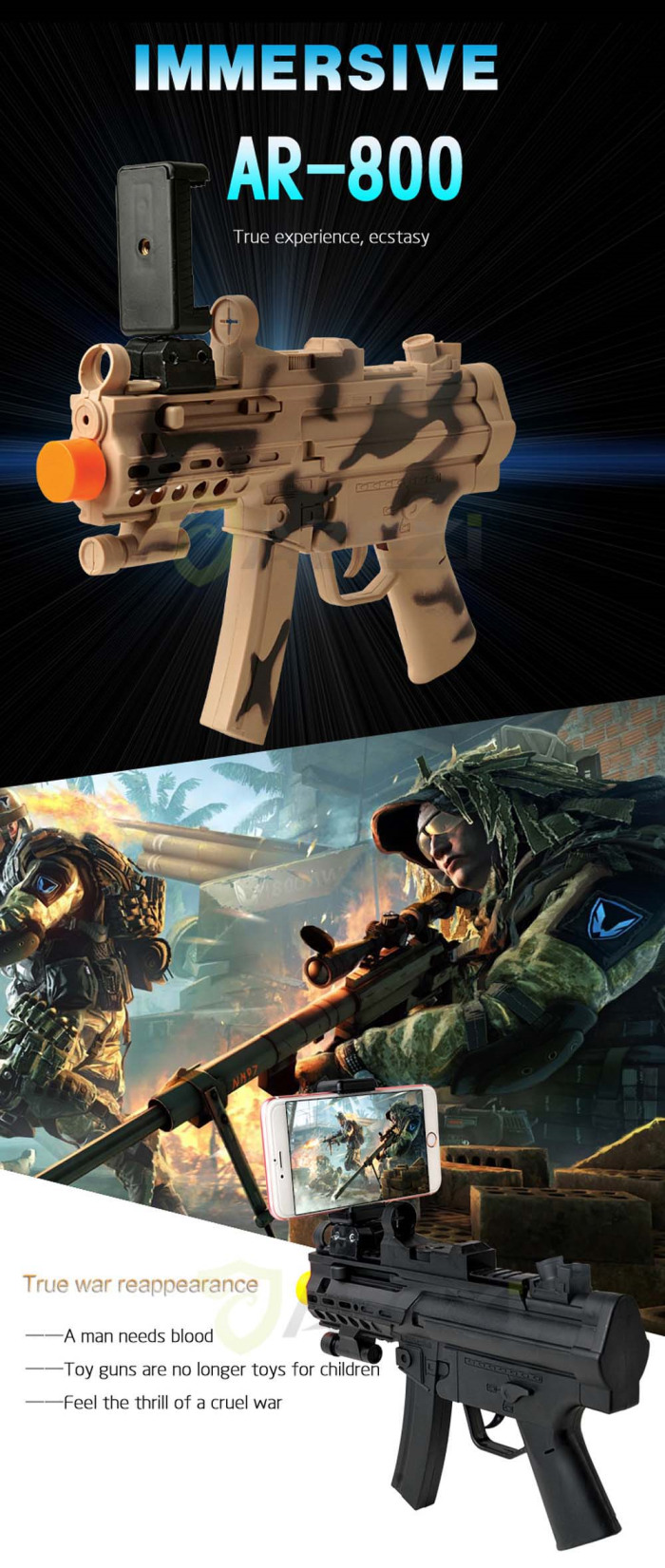 AR Gun Toys Shoot Games Bluetooth Controller For iPhone & Android Cellphones