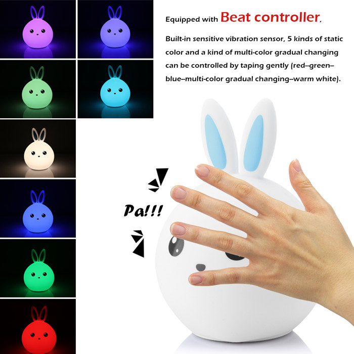 Rabbit LED Baby Night Light Multicolor Touch Sensor Tap Control Lamp Christmas Gift