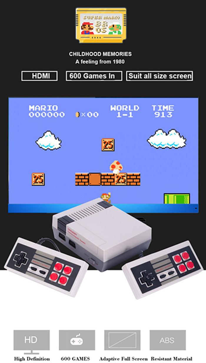 Mini TV Handheld Video Game Console Built-in 620 Classic NES Games PAL&NTSC