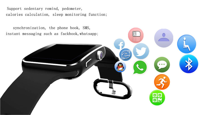 Bluetooth Sport X6 Smart Watch For Android Phone with Camera