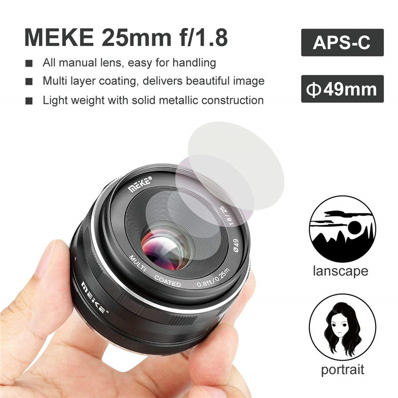 Meike 25mm f1.8 Large Aperture Wide Angle Manual Focus Lens for Olypums Panasonic Micro 4/3 Mount Mirrorless Cameras