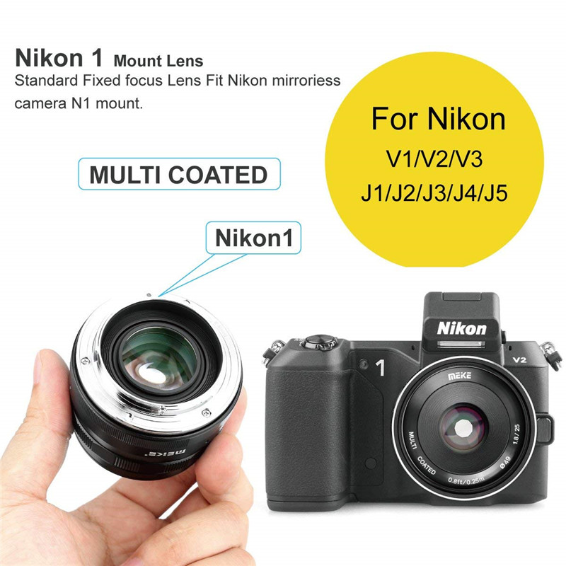 Meike 25mm f/1.8 Large Aperture Wide Angle Lens Manual Focus Lens for Nikon 1 Mount Mirrorless Cameras