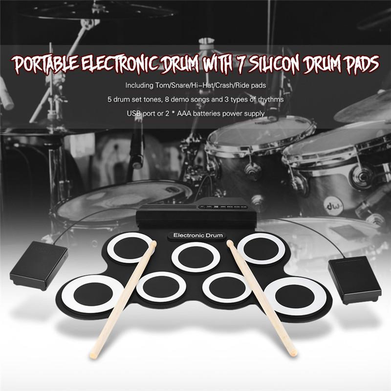 Digital Portable Roll Up Electronic Drum Set Kit Pad