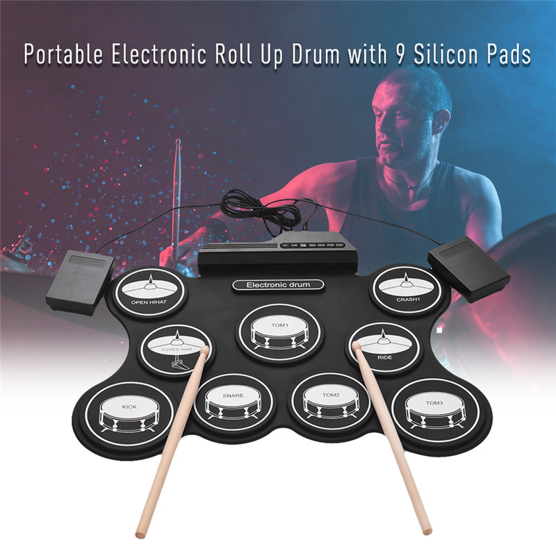 Portable Roll Up Electronic Drum Set Kit Pad with Pedal Drum Sticks
