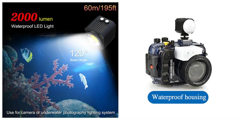 60m/195ft Waterproof LED Flashlight For Underwater Camera Housing