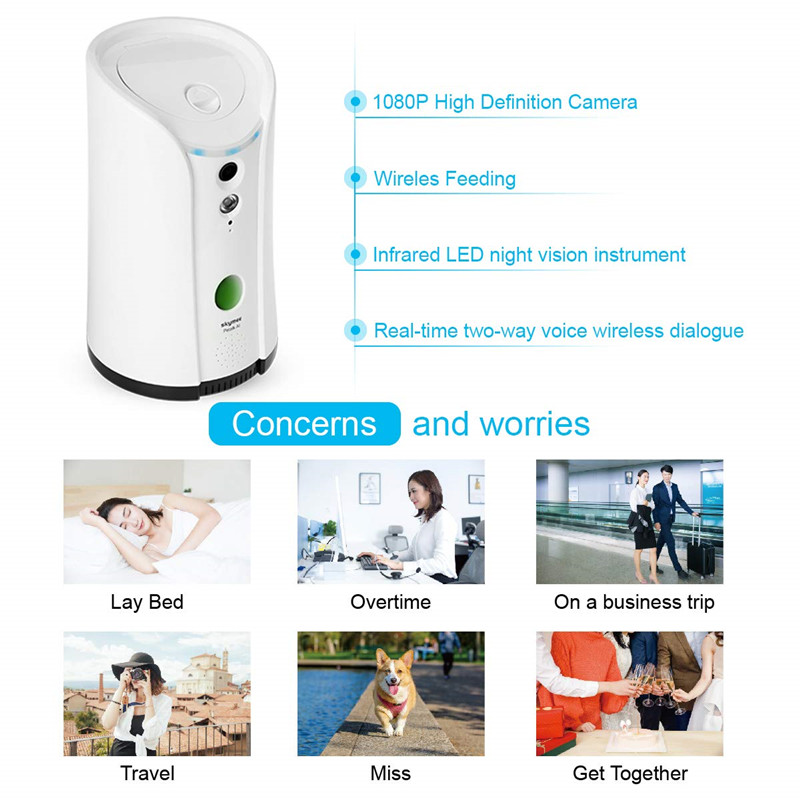 SKYMEE Dog Treat Dispenser WiFi Remote Camera