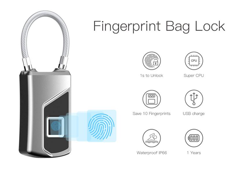 USB Rechargeable Fingerprint Lock Waterproof Security Padlock