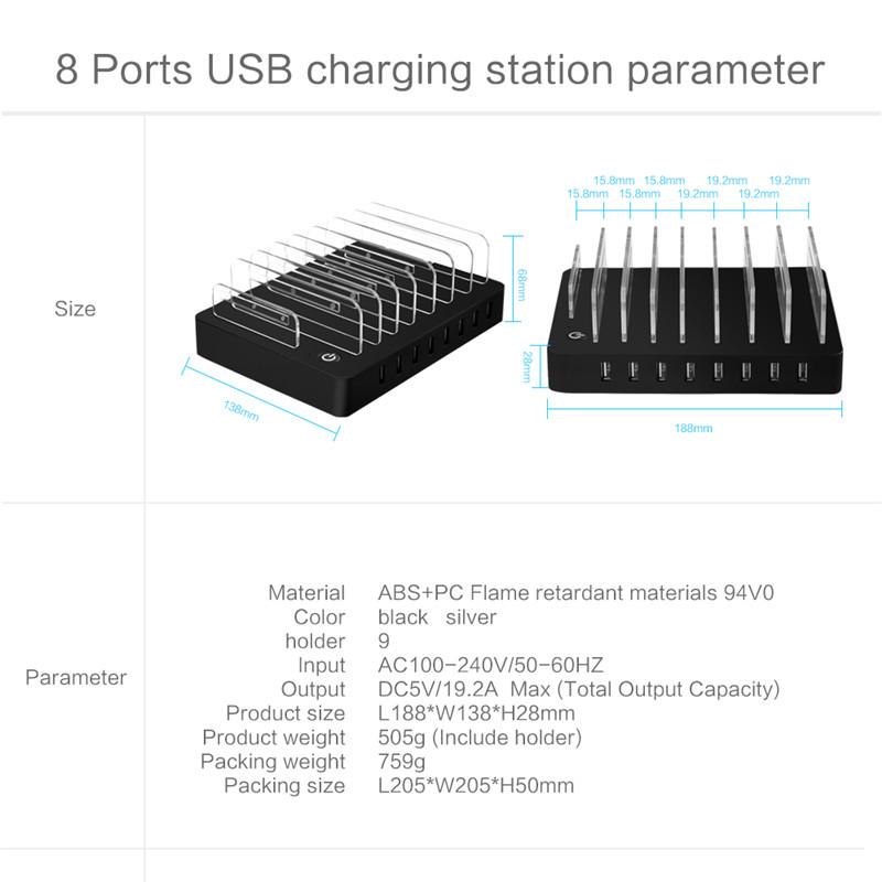 96W 8 Ports Desktop USB Multi-Function Charging Station Dock