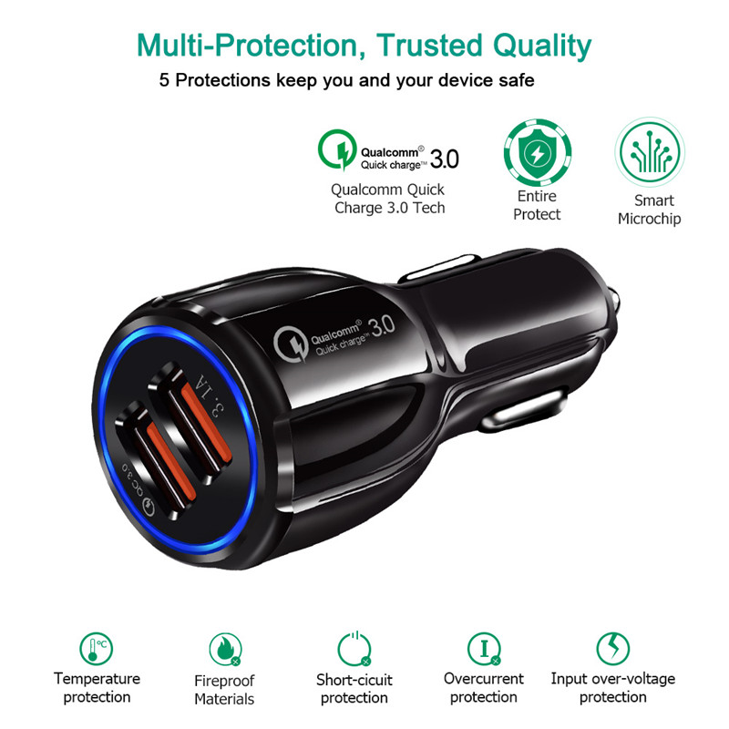 Quick Charge 3.0 Dual USB Car Charge Fast Charger Mobile Phone Travel Adapter