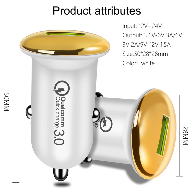 Mini USB Car Charger 18W Quick Charge 3.0 Mobile Phone Charging Adapter