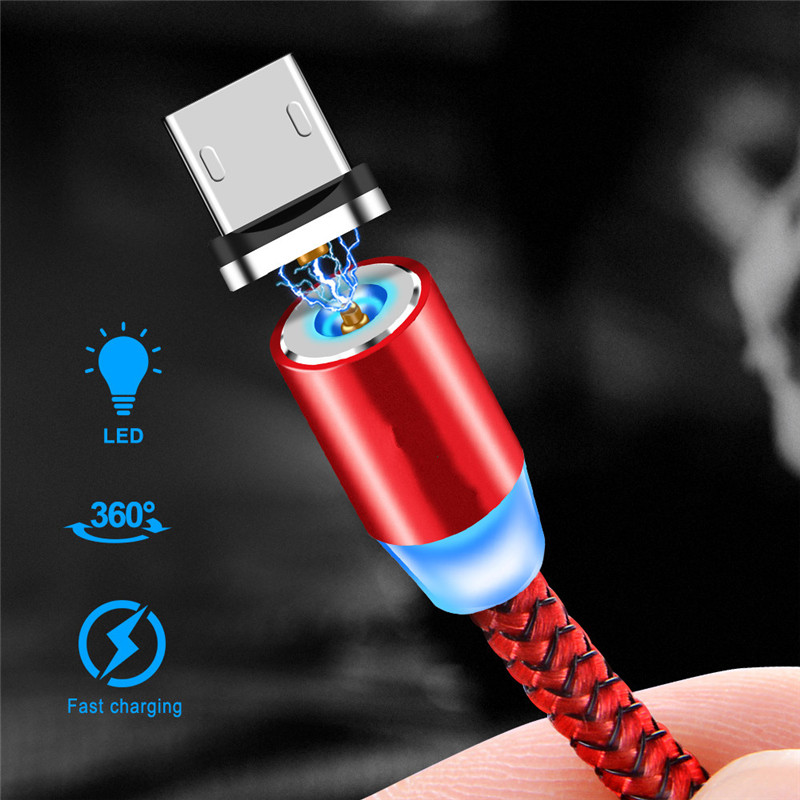 Type C Micro USB ios Magnetic Braided LED charging cable