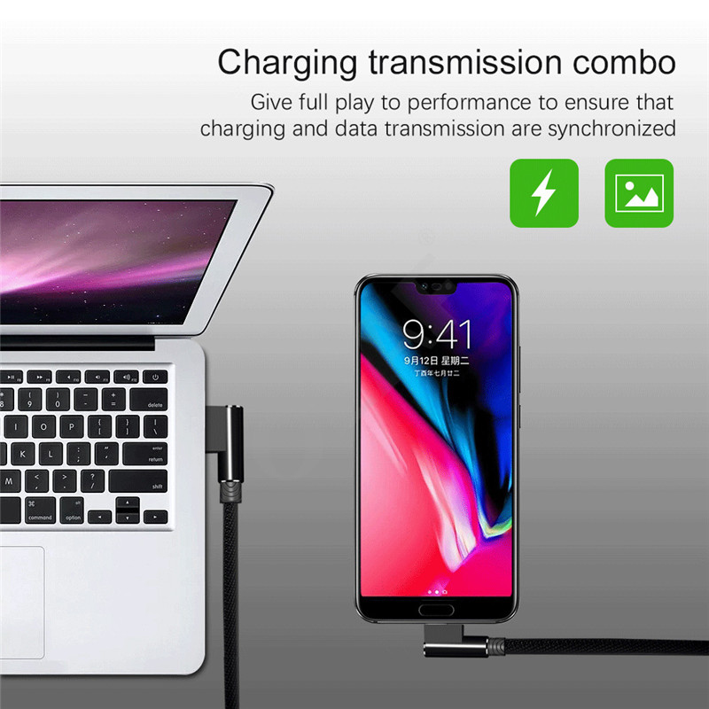 90 Degree elbow Nylon Braided 1m 2m 3m Fast Charging Charger Micro USB Data Cable