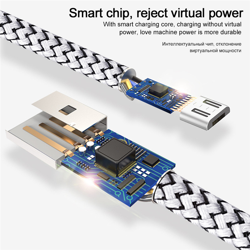 2A Fast Charging Data Wire Cord Micro USB Charger Cable