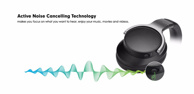 ANC8 Active Noise Cancelling Wireless Headphones Bluetooth Headset
