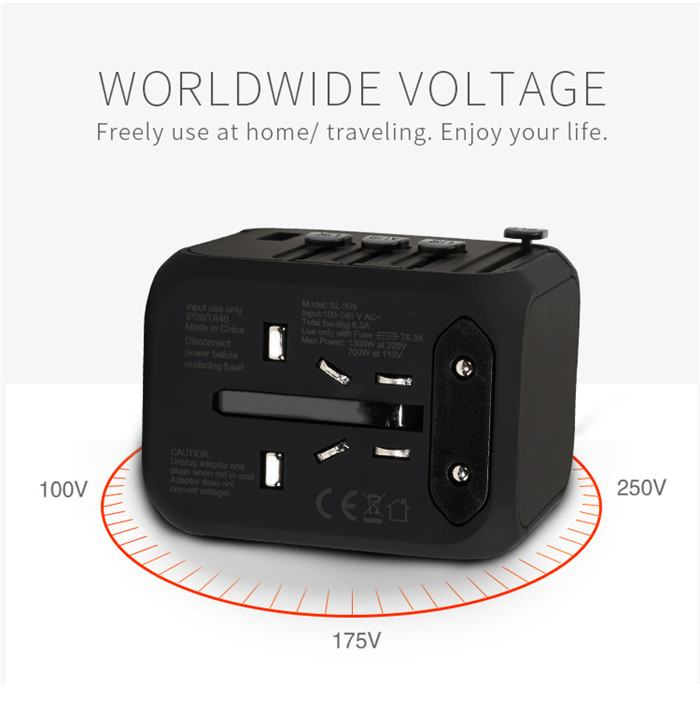 Travel Charger Adapter Plug 4 USB Ports Electrical Socket US UK EU AU