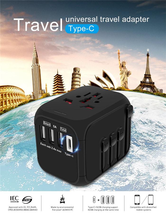 Type-C Travel Charger Adapter 4 Ports US UK EU AU Plug Socket