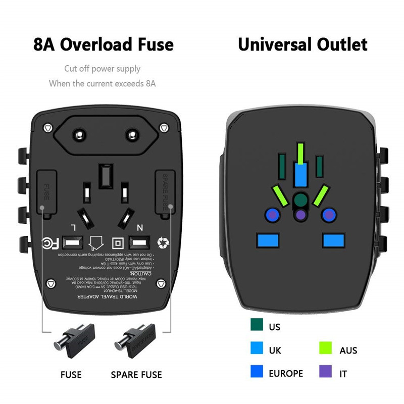 Travel Plug Adapter Wall Charger 4 USB Ports Universal AC Outlet