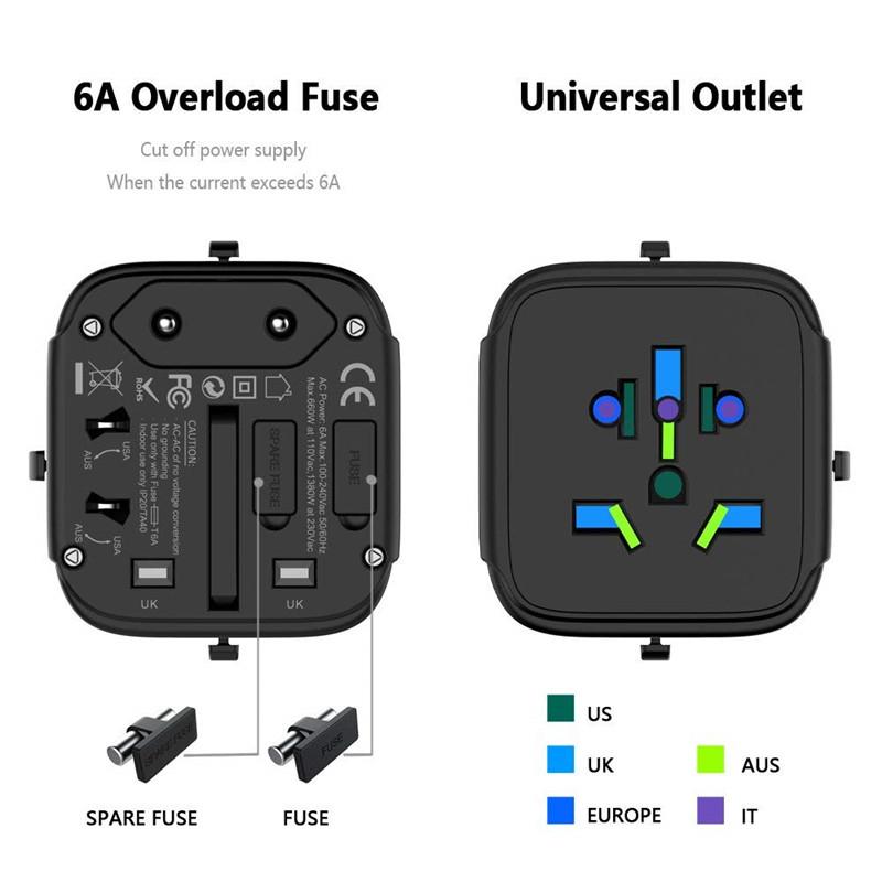 Travel Plug Adapter 2 Tpye-C & QC 3.0 US/EU/AU/UK AC Outlet
