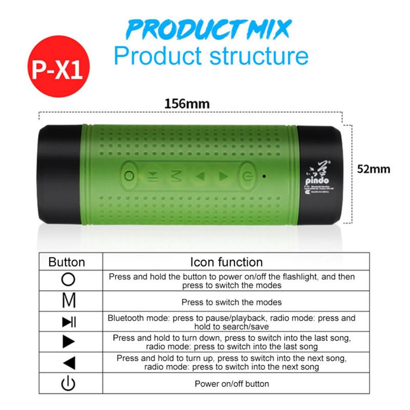 PINDO P-X1 Outdoor Waterproof Bluetooth Speaker Bike Flashlight