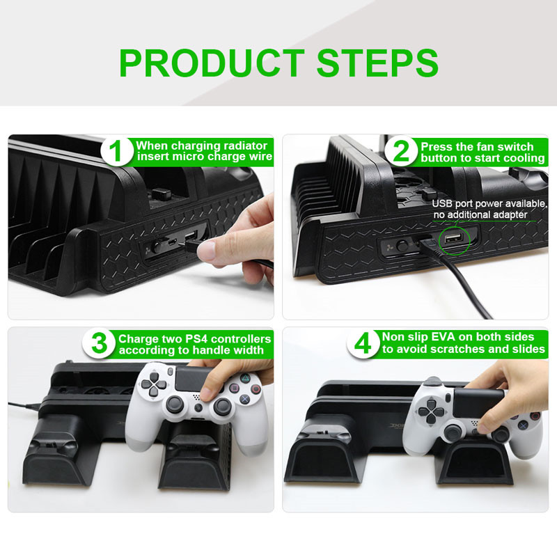 ps4 vertical stand with cooling fan dual controller charging station playstation 4