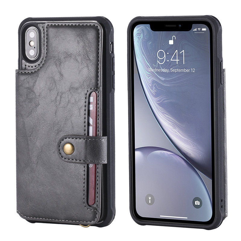 leather back cover wallet case For iPhone 12 11 pro max mini 8 7 6 plus C52