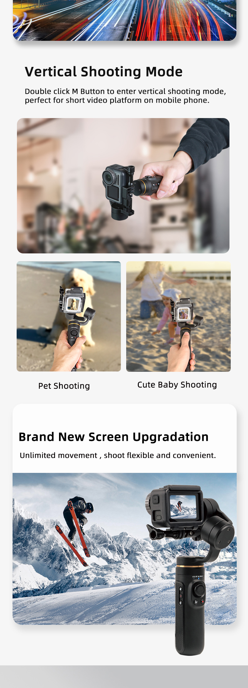 INKEE FALCON handheld 3 axis action camera gimbal stabilizer