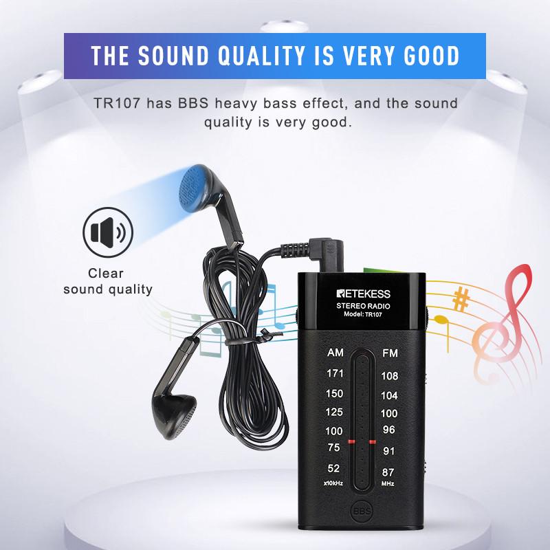 RETEKESS TR107 AM FM portable mini pocket radio